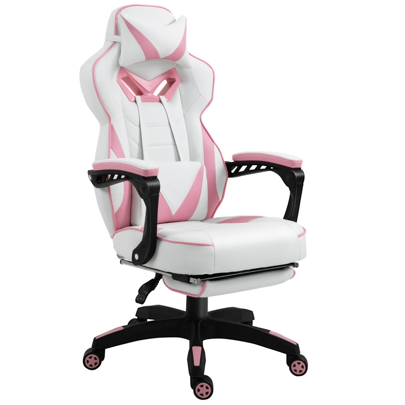 Vinsetto Gaming Chair Ergonomic Reclining w/ Manual Footrest 5 Wheels Stylish Office Pink