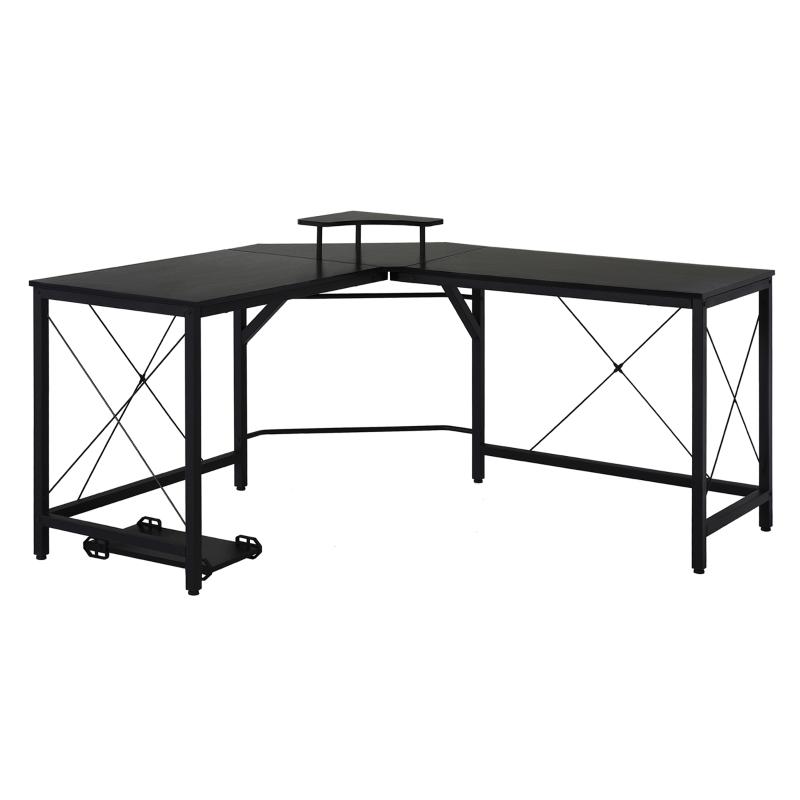 Biurko komputerowe Biurko narożne w kształcie litery L Biurko Stół biurowy metal czarny