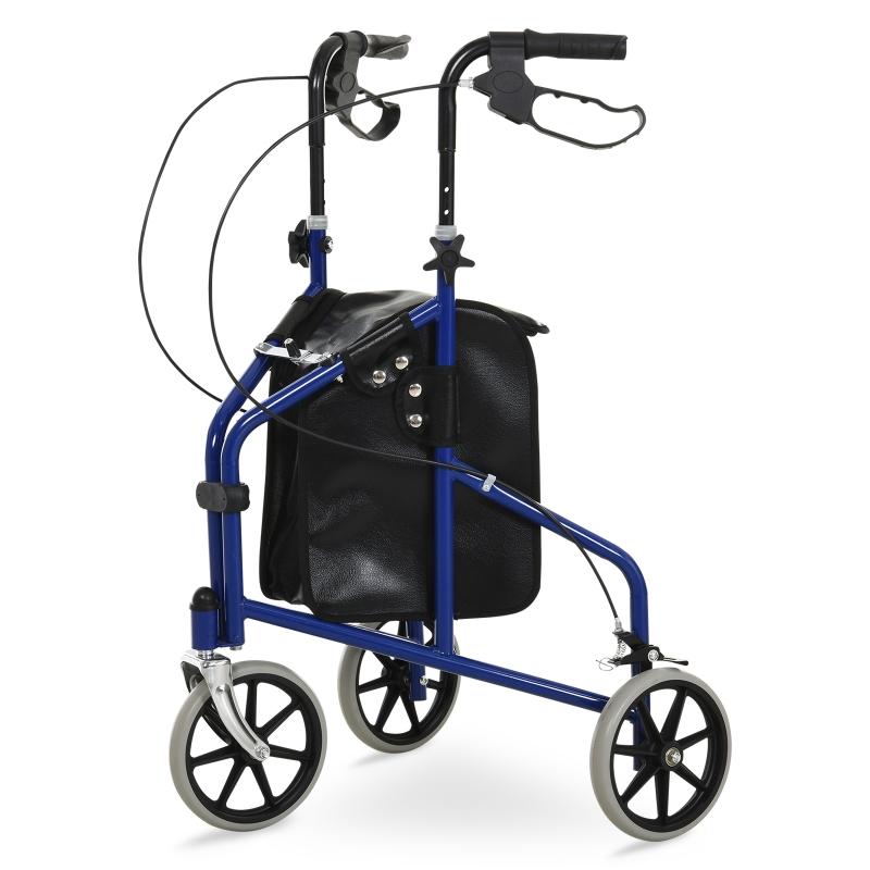 HOMCOM Metal Foldable 3-Wheel Rollator w/ Bag Blue/Black