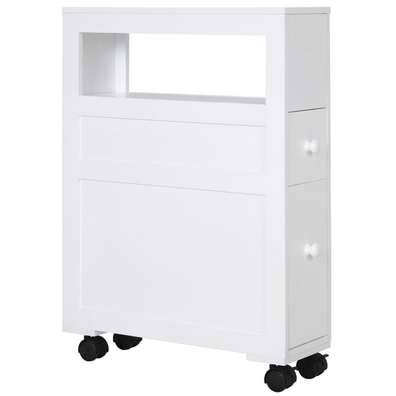 HOMCOM MDF Narrow Rolling Bathroom Side Cabinet White