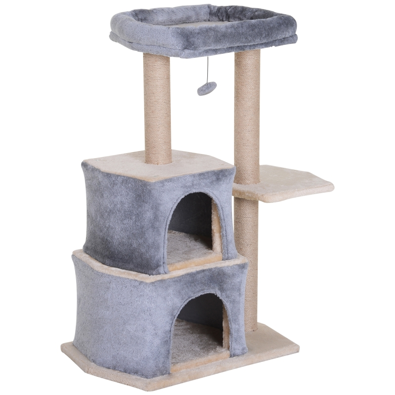 PawHut Multi-Level Cat Scratching Tree Condo Pet Activity Centre with Sisal-Covered Scratching Posts Perch w/ Bed and Dangle Toy Grey