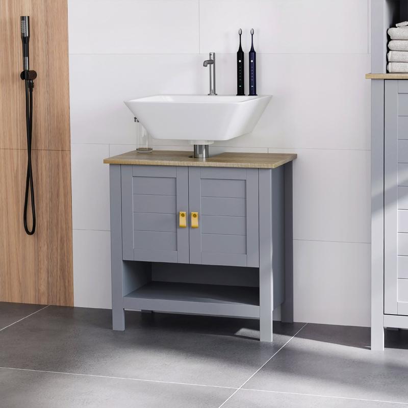 kleankin Armario para Debajo de Lavabo Compacto con 2 Puertas y Estante Interior Ajustable Mueble Auxiliar de Almacenamiento para Baño 60x30x60 cm Gris
