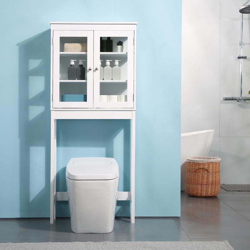 kleankin Mueble de Baño sobre Inodoro Armario Alto para Lavadora con Puertas de Cristal y Estantes Interiores Ajustables 70x24,5x160 cm Blanco
