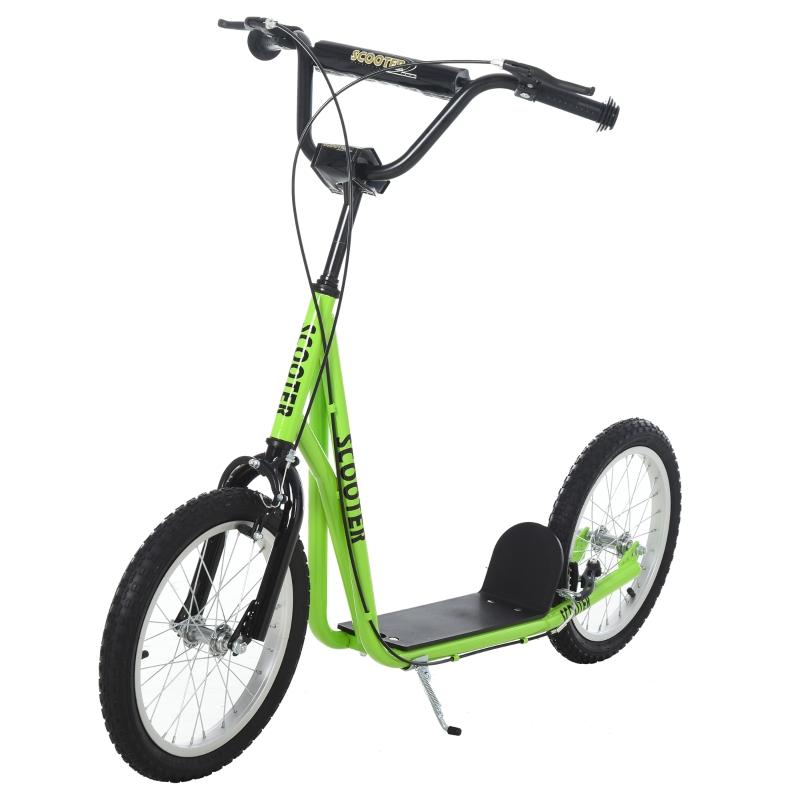 HOMCOM 90-96cm Kids Kick Scooter w/ Adjustable Handlebar Inflatable Wheels Brakes Green