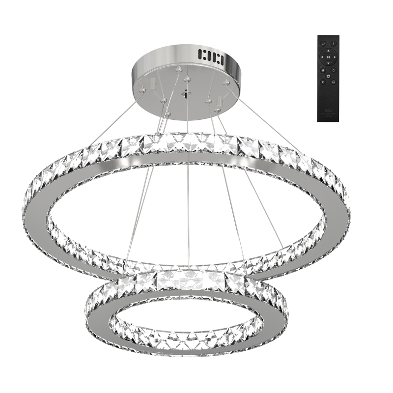 HOMCOM LED Chandelier 2 Crystal Rings Cool Warm White Lighting Home Style Silver