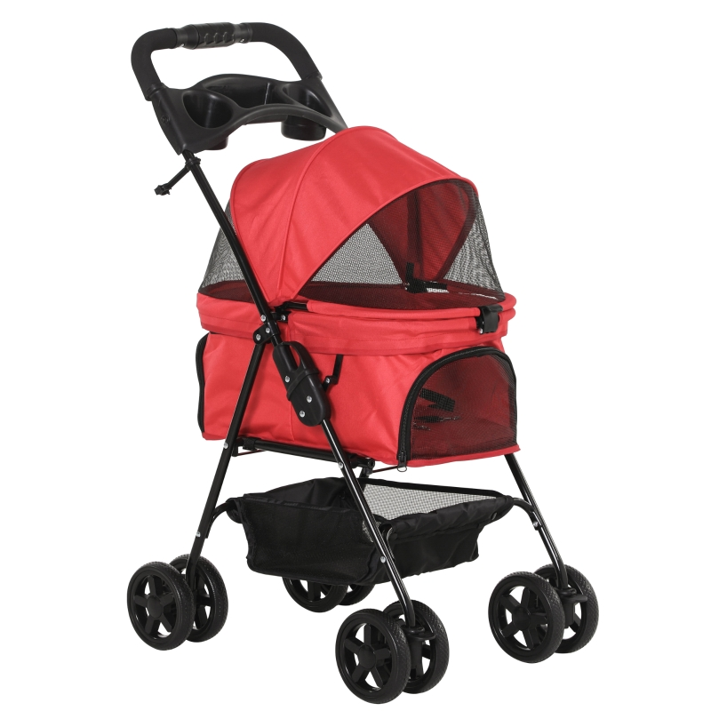 PawHut Pet Stroller No-Zip Foldable Travel Carriage with Brake Basket Adjustable Canopy