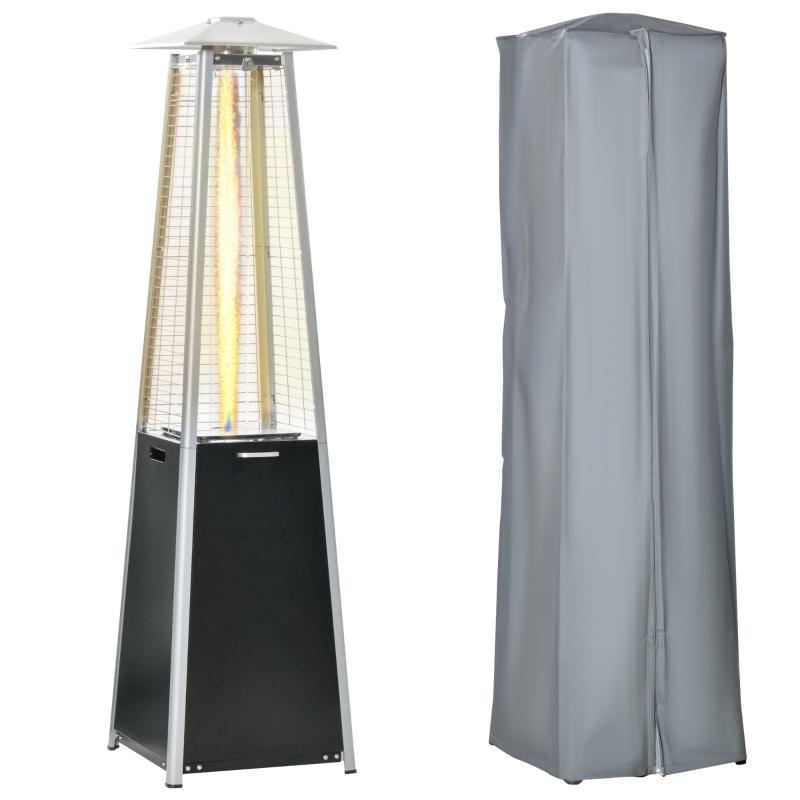Outsunny 11.2KW Outdoor Patio Gas Heater Freestanding Pyramid Heater w/ Regulator, Hose