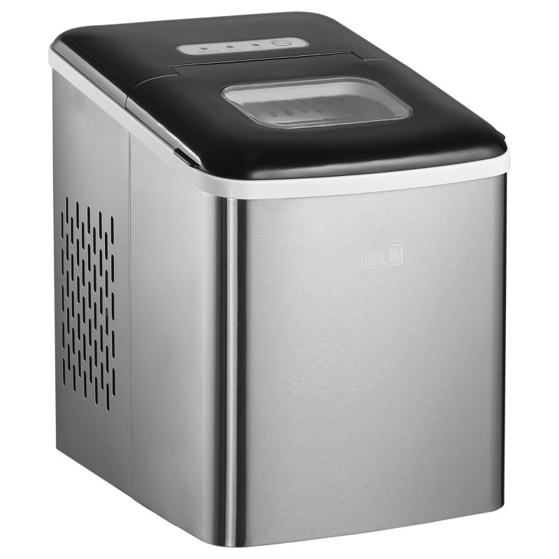 HOMCOM Ice Maker Machine Portable Counter Top Ice Cube Maker for Home 12kg in 24 Hrs