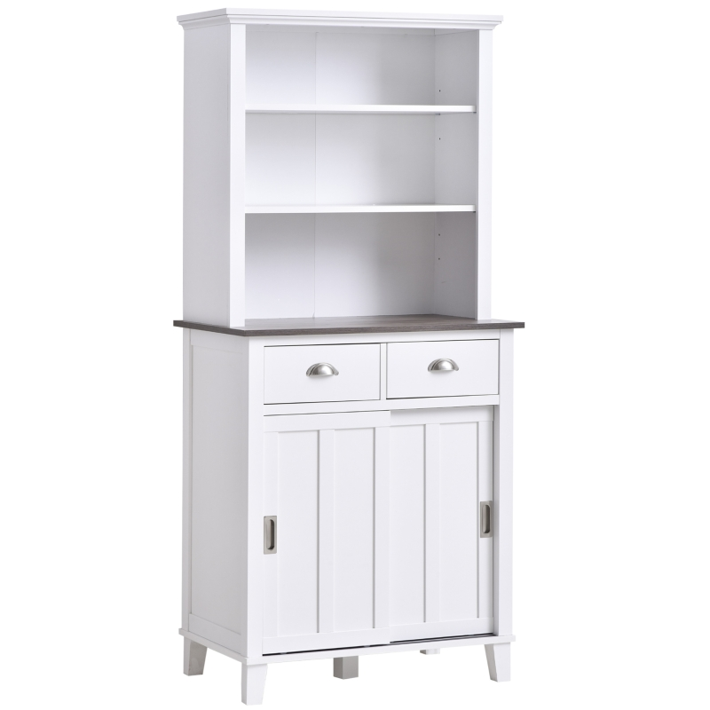HOMCOM Kitchen Buffet and Hutch w/Three Open Shelf Space, Sideboards & Anti-Topple