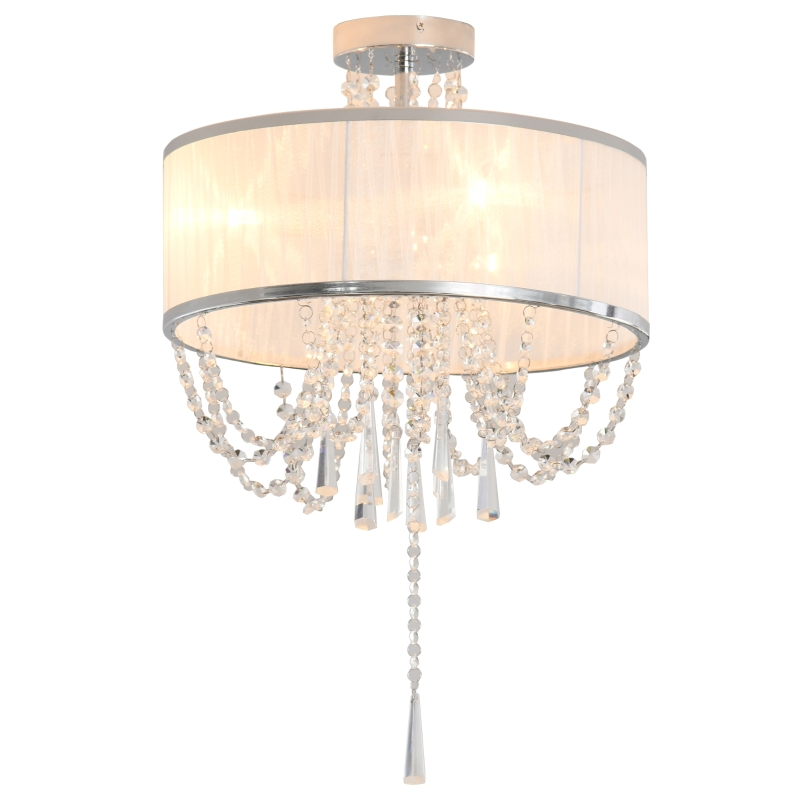 HOMCOM Metal Ceiling Light with Crystal Pendant Fabric Shade for Home Office White