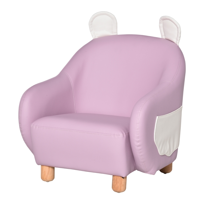 HOMCOM Cute Animal Kids Sofa Chair PU Leather Comfy Armchair for Children Room Pink