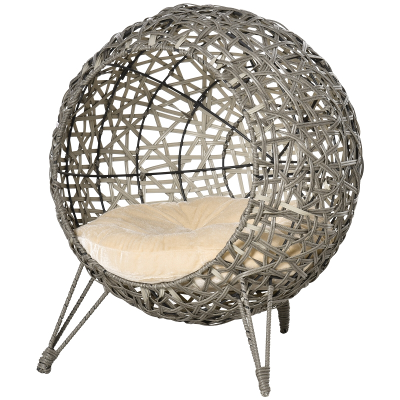 PawHut Rattan Wicker Elevated Cat House Kitten Pussy Basket Pet Bed w/ Cushion Smoky Grey