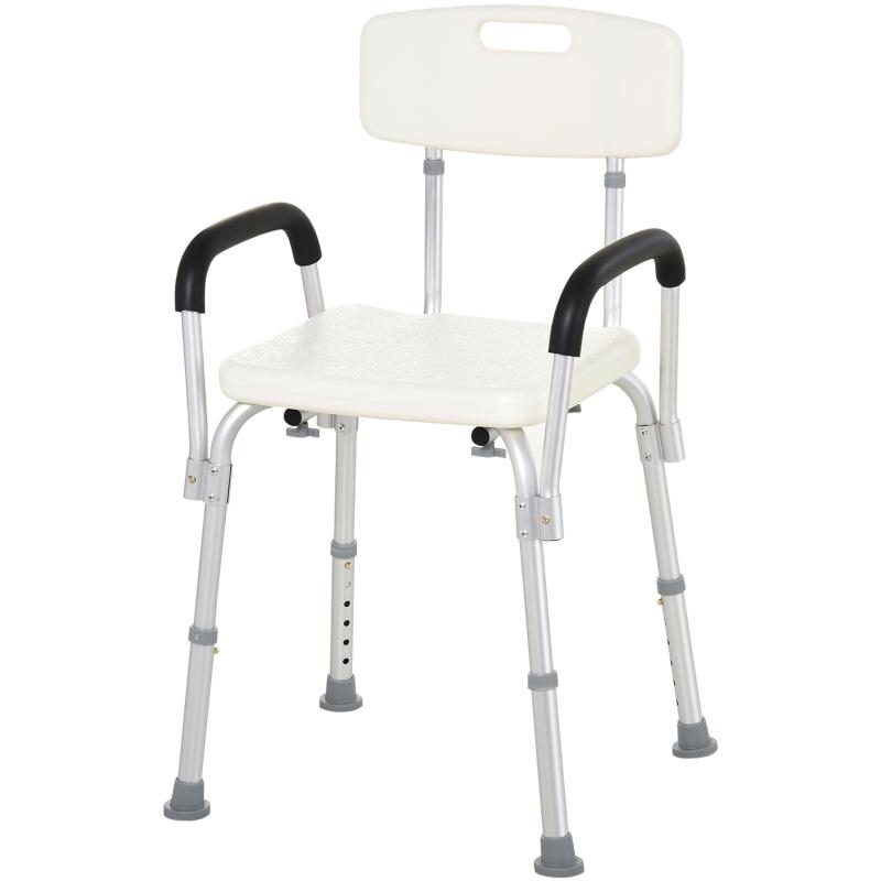 HOMCOM Adjustable Shower Bench with Back and Armrest