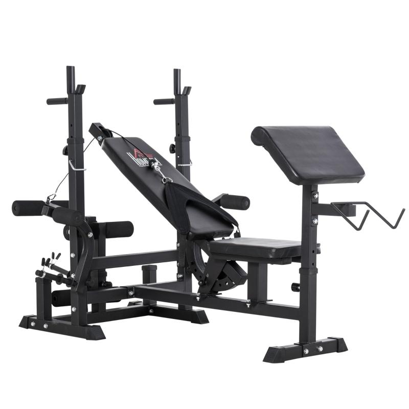 Wielofunkcyjna ławka treningowa ze stojakiem na sztangę ławka treningowa z regulacją atlas treningowy
