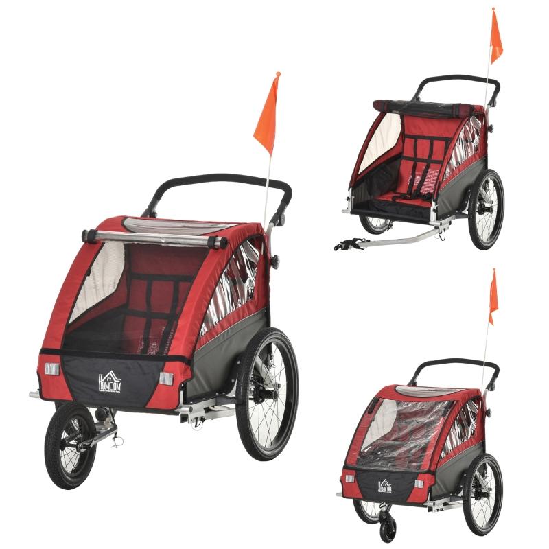 Przyczepka rowerowa 3 w 1, wózek do biegania, przyczepka rowerowa dla 2 dzieci, aluminium, czerwona