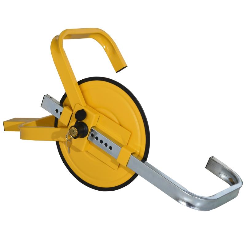 Blokada na koło pazur parkingowy do kół o średnicy 43-53 cm z 2 kluczami tarcza ochronna kolor żółty