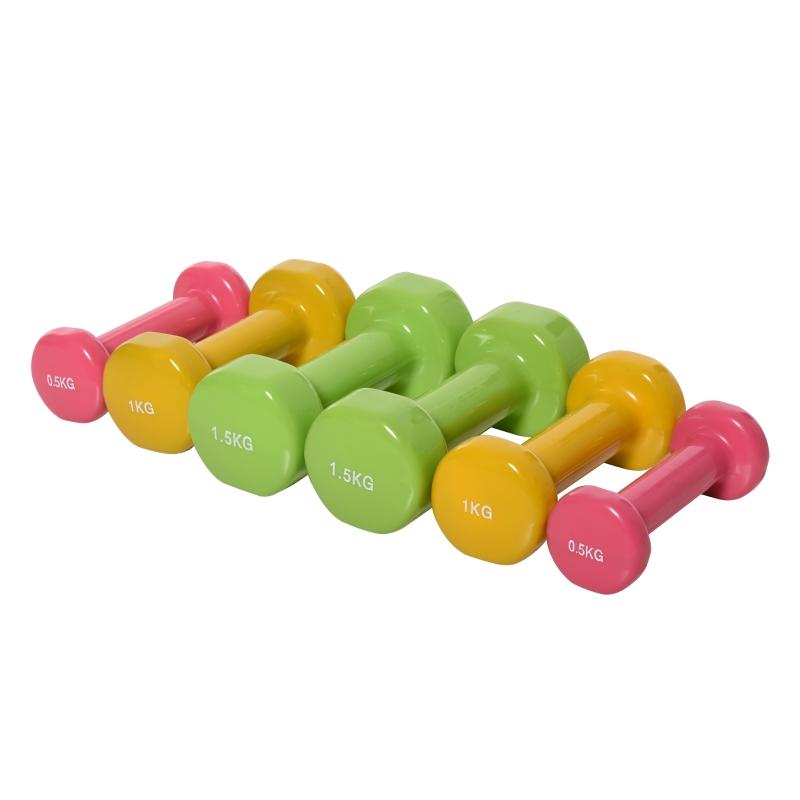 Zestaw hantli z walizką przenośny komplet hantli 6 szt. stal czerwony + żółty + zielony