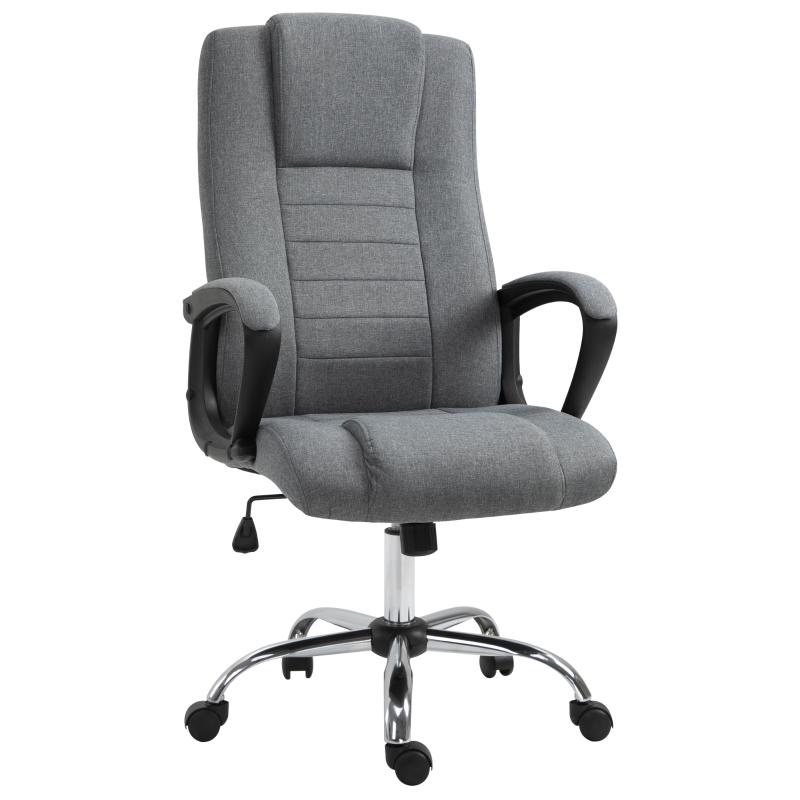 Krzesło biurowe krzesło do komputera z funkcją kołysania z regulacją wysokości sztuczny len