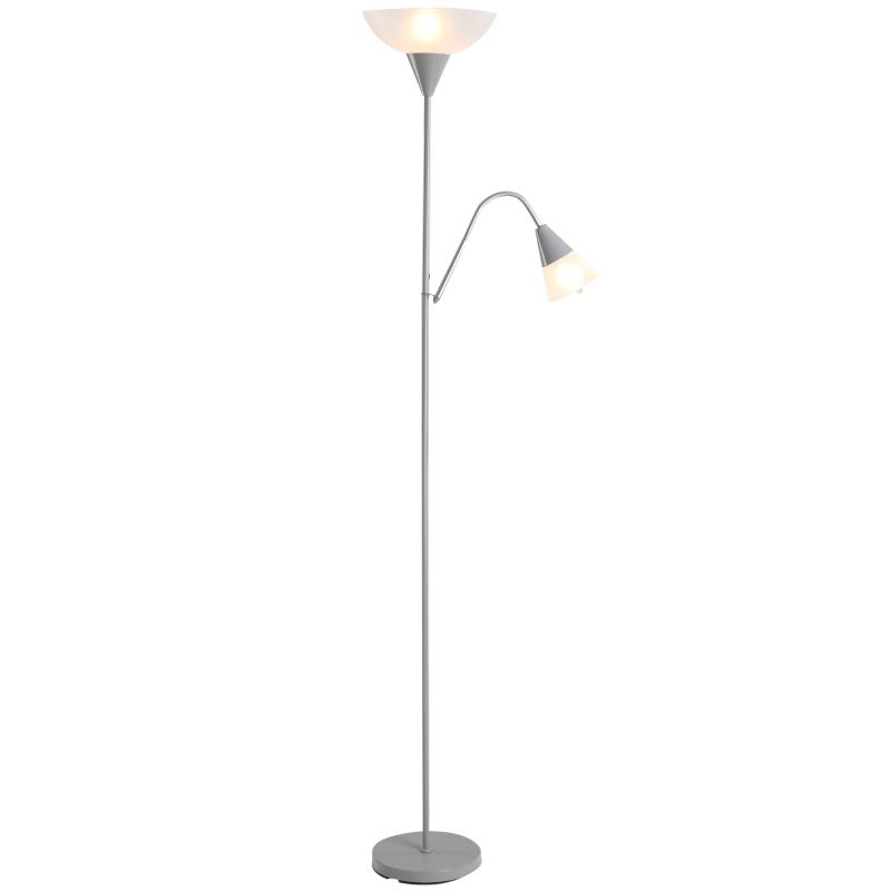 Lampa podłogowa regulowana lampka do czytania, lampa stojąca dwie głowice kolor srebrny