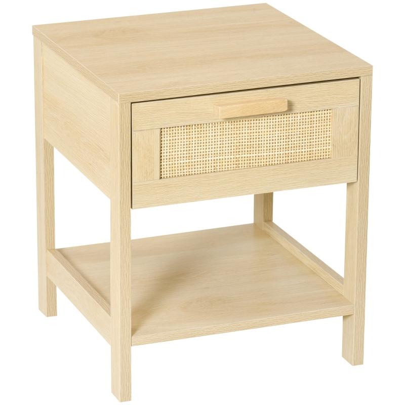 Stolik nocny naturalny szafka nocna z szufladą otwartą półką MDF naturalny