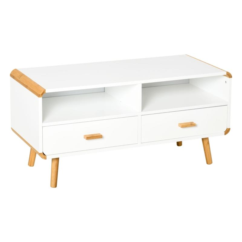 Szafka RTV Komoda RTV z 2 szufladami i otwartymi półkami bambus MDF biały + naturalny