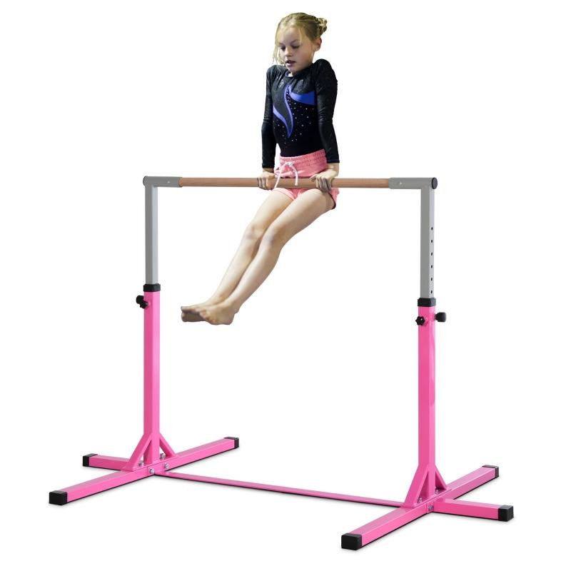 Drążek gimnastyczny 13-stopniowa regulacja wysokości różowy