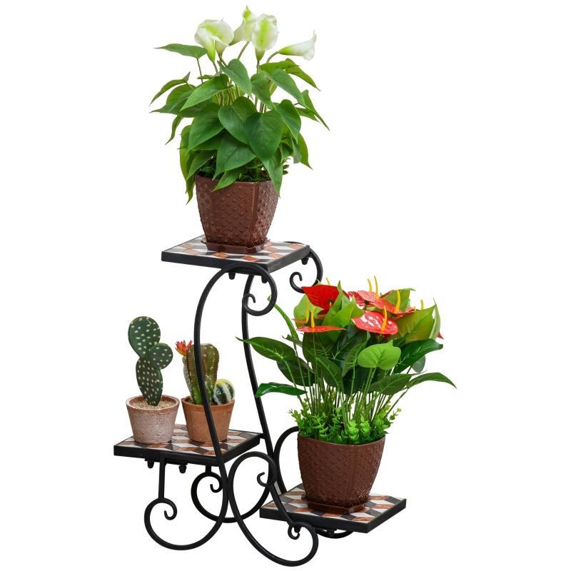 Regał na rośliny, Regał na kwiaty, mozaika, płaski, solidny, łatwy w pielęgnacji, czarny