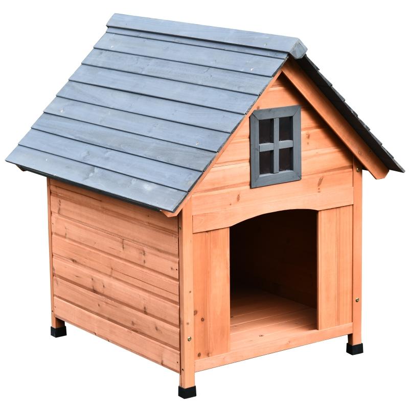 Budka dla psa PawHut w stylu małego domku, domek dla psa, drewno jodłowe, kolor naturalny