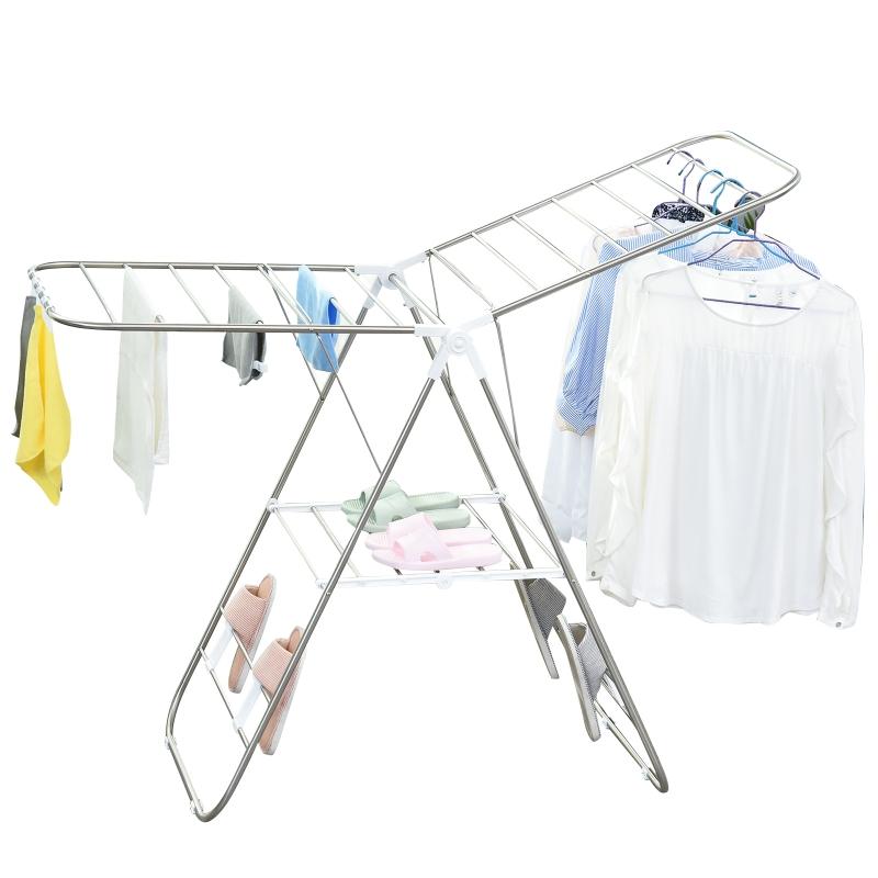 HOMCOM składana suszarka do prania, stal nierdzewna, tworzywo sztuczne, srebrny, biały