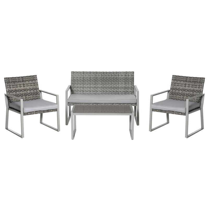 Zestaw mebli ogrodowych czteroczęściowy komplet stół z krzesłami sofa poduszki siedziska stolik kawowy stal szary