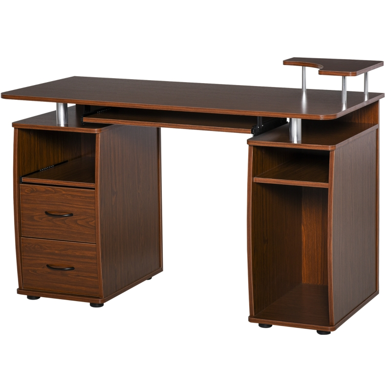 Biurko komputerowe, biurko z szufladami, biuro domowe, gabinet, miejsce do przechowywania, orzech włoski
