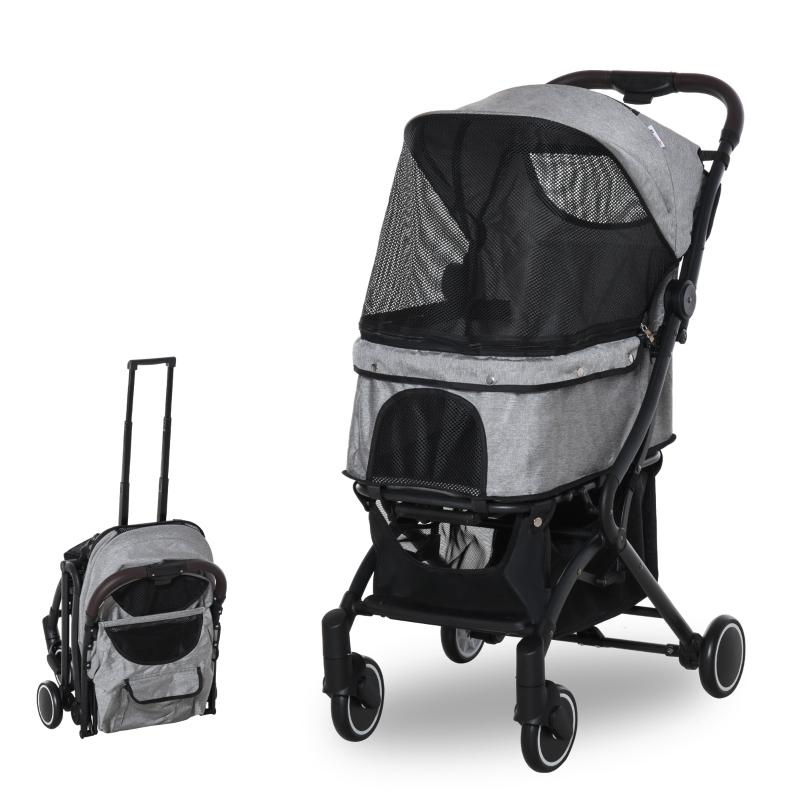 Wózek dla psa wózek dla psów wózek dla kotów z torbą na zakupu składany aluminium szary