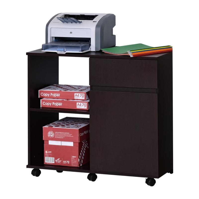 Stół pod drukarkę Wózek Stojak na drukarkę z szufladą + szafką Płyta wiórowa brązowy