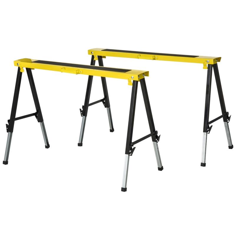 Stojak do cięcia zestaw 2 stojaków stojak roboczy stojak składany powierzchnia antypoślizgowa stal żółty