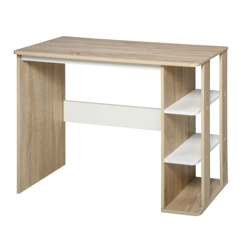 Biurko z półkami regał na książki biurko komputerowe stół biurowy płyta wiórowa kolor naturalny+biały
