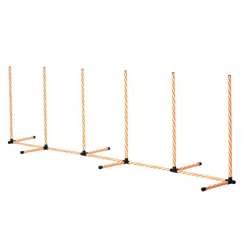 Drążki do slalomu dla psów do treningu agility z torbą z tkaniny Oxford pomarańczowy + biały