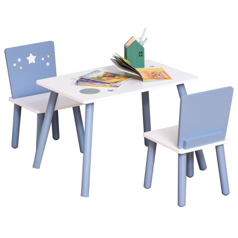 3-częściowy komplet dziecięcy ze stolikiem krzesełkiem  meble dziecięce niebieski+biały