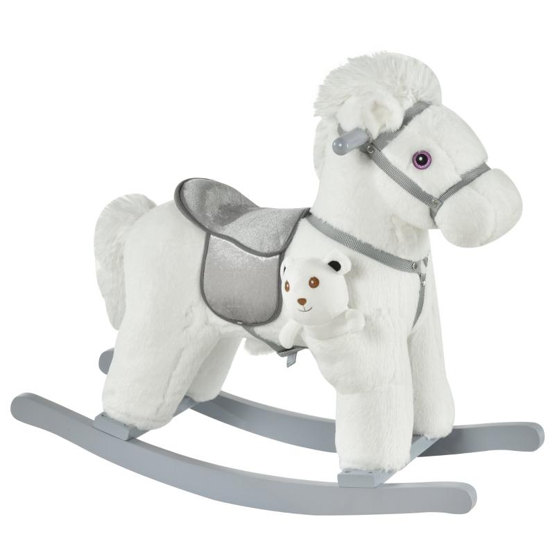 Koń na biegunach dla dzieci Zwierzę na biegunach Jeleń zabawka dla dzieci w wieku 18–36 miesięcy, biały
