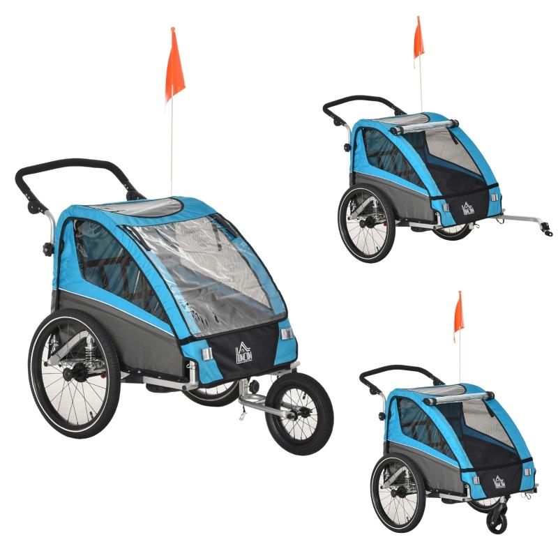Przyczepka rowerowa, wózek do biegania, przyczepka rowerowa dla 2 dzieci, aluminium, niebieska