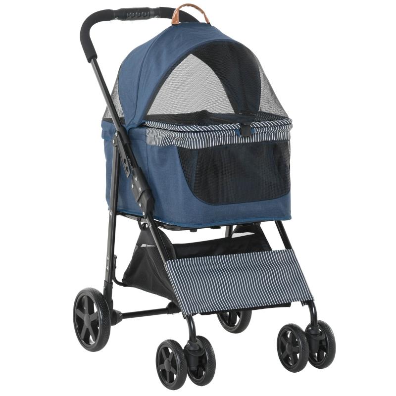 Wózek dla psa 2 w 1 Torba transportowa zdejmowana Spacerówka dla kota Oxford ciemnoniebieski