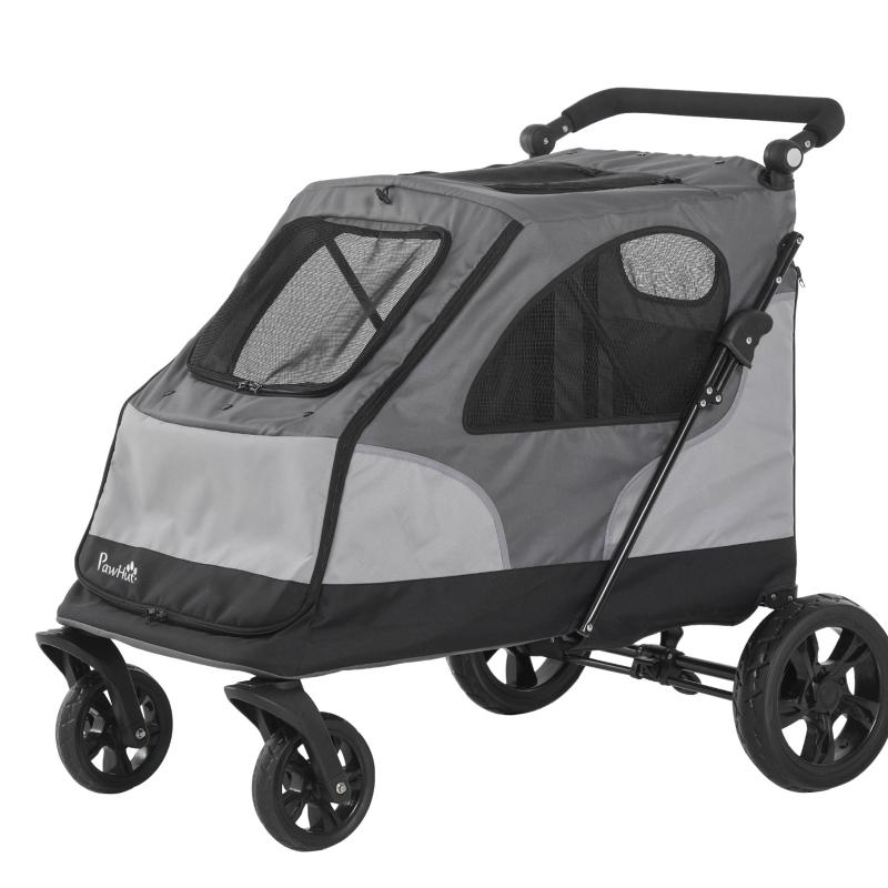 Wózek dla zwierząt domowych Wózek dla psów 4-kołowy Wózek dla psa składany Oxford szary + czarny