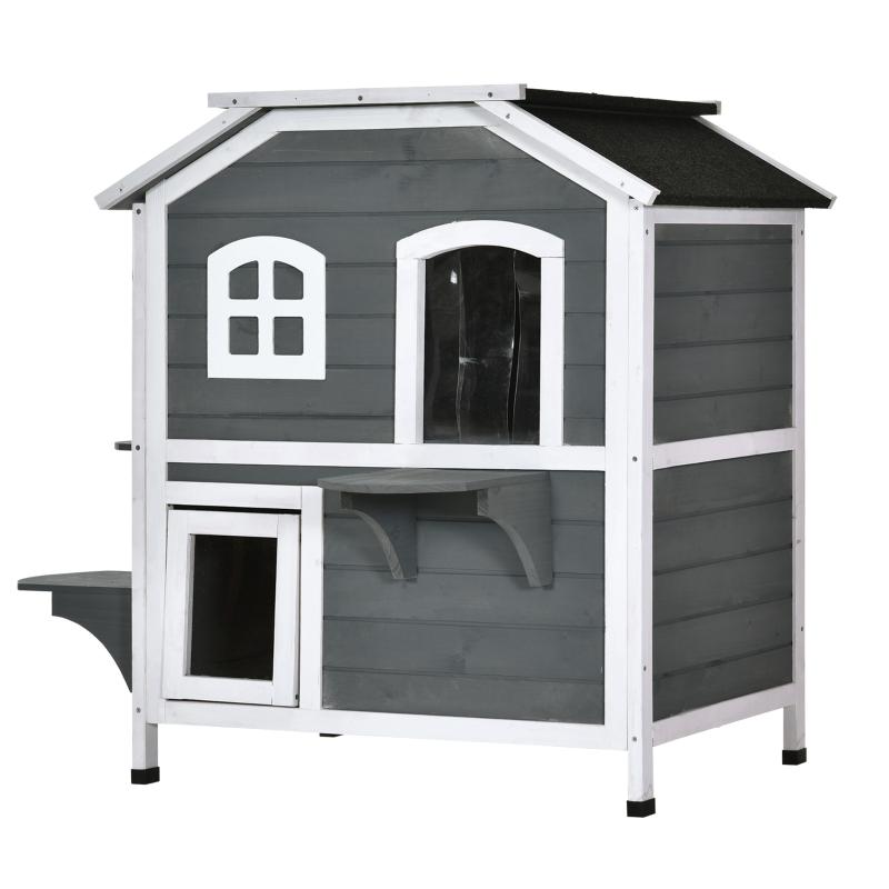 PawHut Cat Condo w/ Tons of Room & Openable Roof, Fir Wood, Outdoor/Indoor Catio Grey