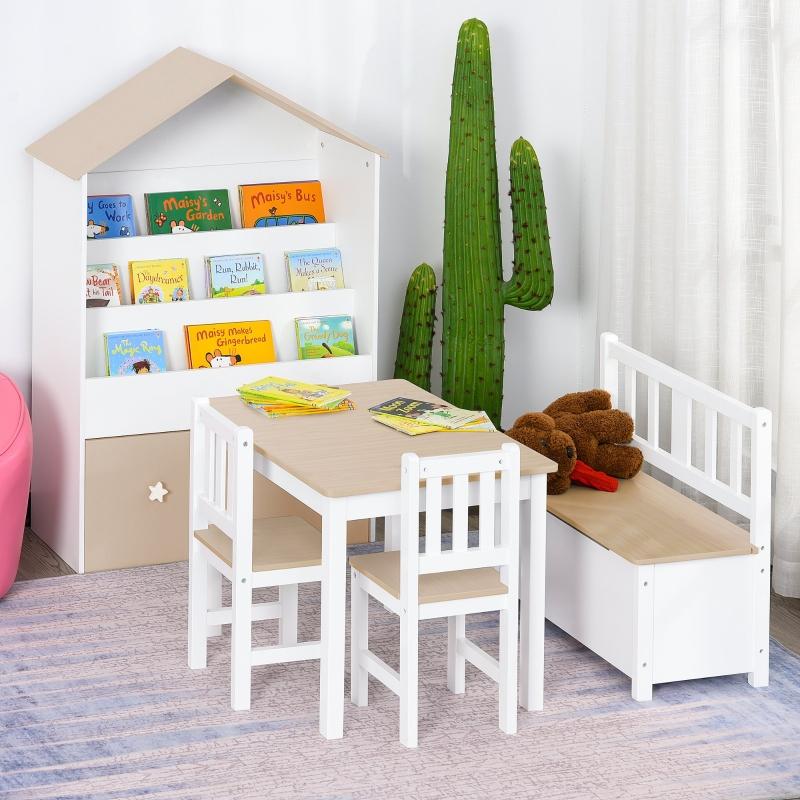 HOMCOM Conjunto Infantil de Mesa Banco y 2 Sillas de Madera con Espacio de Almacenamiento Muebles Infantiles para Sala de Juegos Habitación de Niños Blanco y Natural