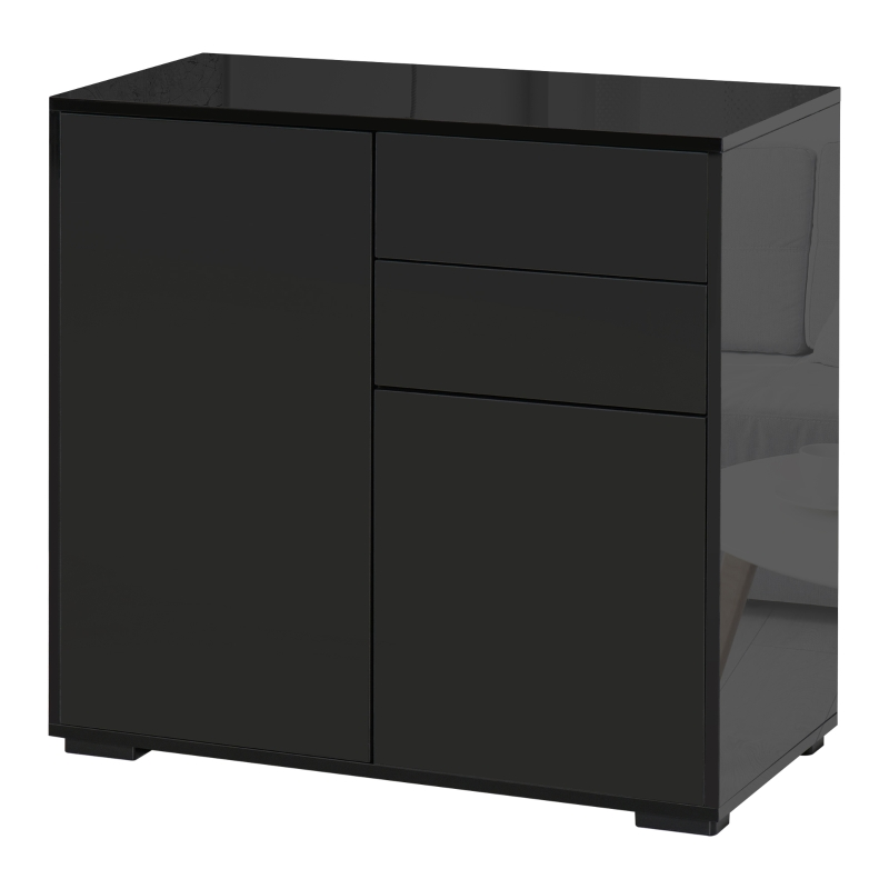 HOMCOM Push-Open Cabinet with 2 Drawer 2 Door Cabinet for Home Office Black