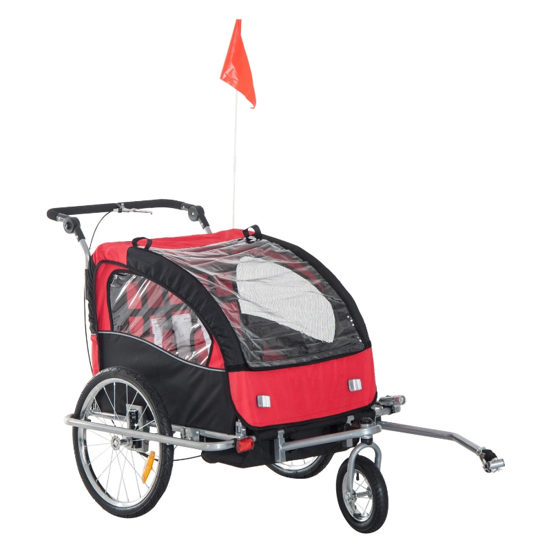 HOMCOM 2 in 1 Child Bike Trailer,2-Seater-Black/Red