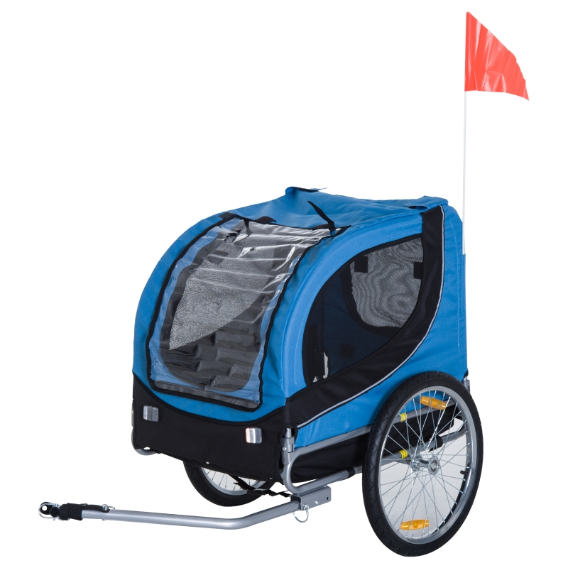 Pawhut Folding Bicycle Pet Trailer W/Removable Cover-Blue