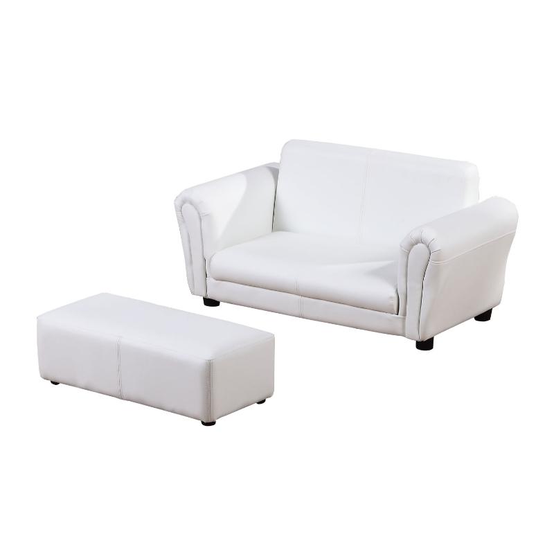 HOMCOM Kids PVC 2-Seater Mini Sofa Set w/ Footstool White