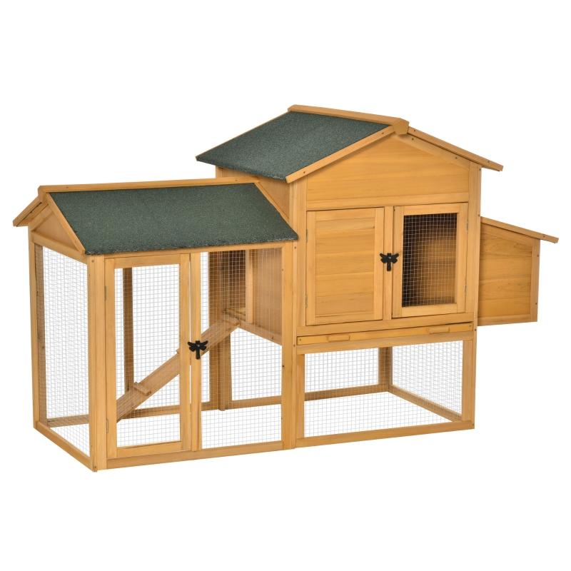 PawHut Deluxe 168cm Chicken Coop Small Animal Habitat Hen House w/ Run Nesting Box