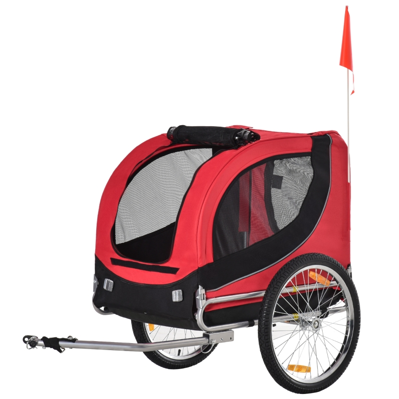 Pawhut Folding Bicycle Pet Trailer W/Removable Cover-Red