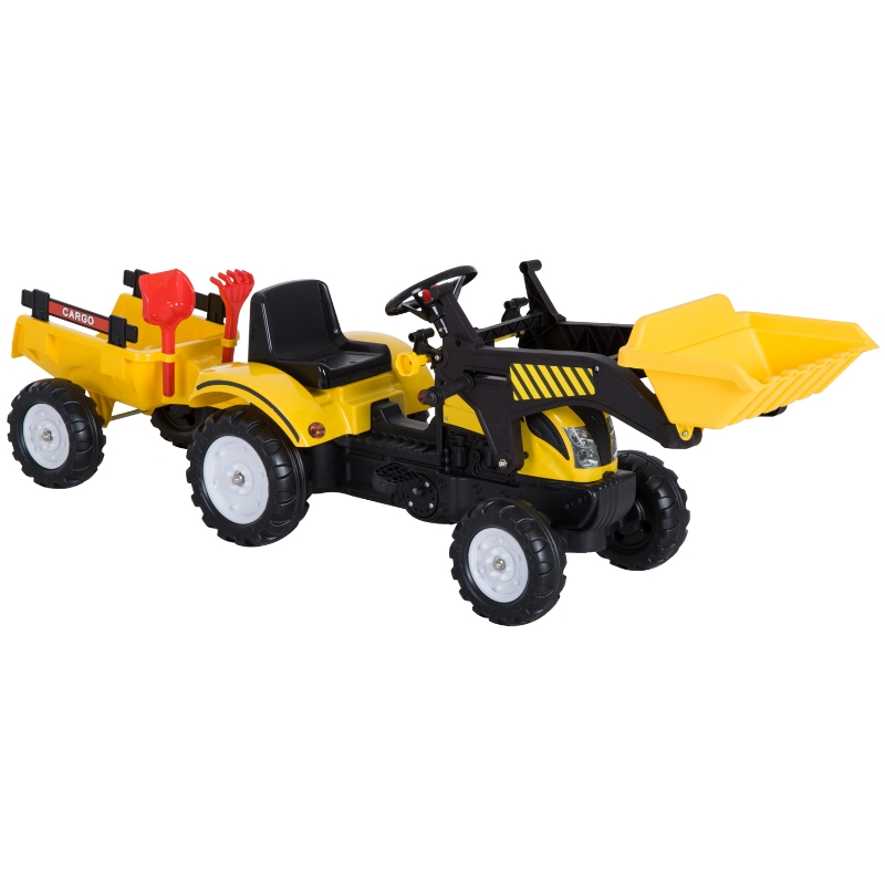 Homcom Pedal Go Kart Go Karting For Kids  Tractor And Excavator 2 In 1 Ride-On W/ Digger On Four Wheels